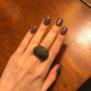 Sparkly Black Statement Ring